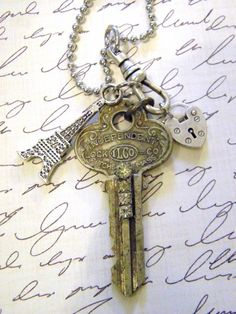 Eiffel Tower and Vintage Key Pendant Necklace