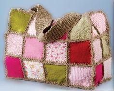 felt & crocheted bag, to use vintage scraps (GREAT IDEA)