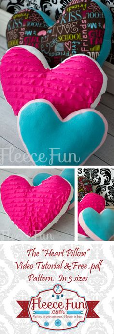 This cute heart pillow is great for Valentine's or any day!  Free pdf pattern and video  tutorial..  Tutorial has instructions on how to deal with ruffle fabric too!