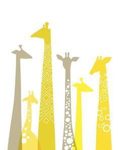 Giraffes ~ frame. wall art {cute for little J's room} (wish I knew the source, artist):