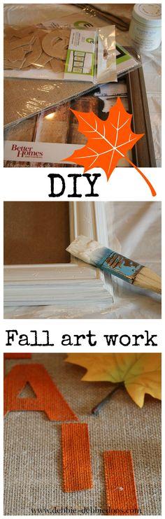 #diy #fall #burlap art work. #bhg #folkpaints #Chalkypaint #creativeexpressions