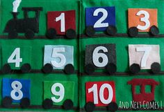 book idea, craft, quiet book train numbers, quiet books, busi bag, book pages, number train, busy books for toddlers, trains