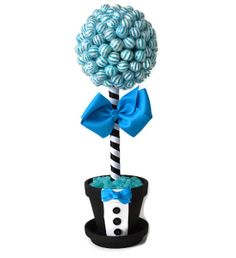 #blue #lollipop #candy #groom #topiary #centerpiece #weddings #rehearsaldinner #bridalshower #custom Small Lollipop Groom Topiary Blue Theme by EdibleWeddings on Etsy, $44.99