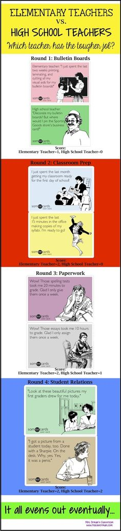 Elementary vs. High School Teachers... Who has the tougher job?---Laughed out loud at the last one!!