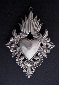 mexican milagro, mexican heart, sacr heart, metal, milagro graphic, heart milagro, flower, corazon, milagro heart