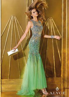 Alyce Prom 6192 - Absinthe Sheer Beaded Mermaid Prom Dresses Online