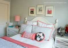 Teen Girl's Room Reveal - love the gray and coral