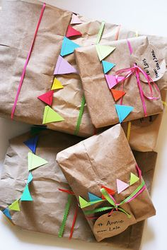 Brown paper package with tiny flag buntings.