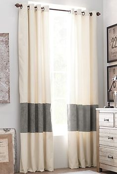 Striped curtain insert. - TO MAKE STORE CURTAINS LONGER FOR HIGHER CEILING ROOMS