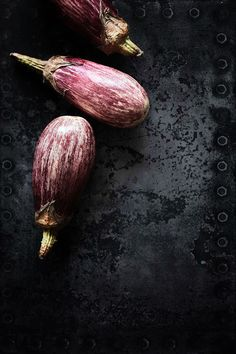 ♂ Dark background Food styling photography still life - Eggplants
