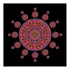 #Red and #Purple Tulip #Mandala Fractal #Poster $20.25