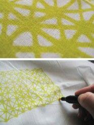 wall art, tea towel, patterns, markers, doodl, fabric marker, fabric art, design, diy projects