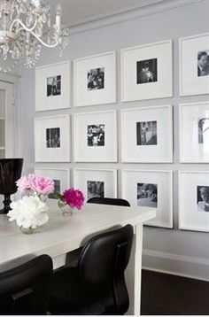 Mount pictures in black and white as art for one wall.