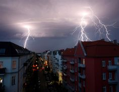 Lightning strikes over Germany in a thunderstorm