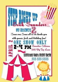 Circus Birthday Party Invitation -- Print at Your Local Photo Lab -- easy peasy!
