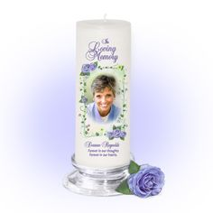 3x9 Pillar Candles : Flourish Memorial Pillar Photo Candle White, Unscented. Stand, optional