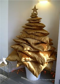 Christmas tree made from satin cushions Cool!