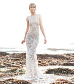Paolo Sebastian - Sirens of the Sea : Silver beaded sheer wedding dress #bodas #vestidosdenovia #encaje