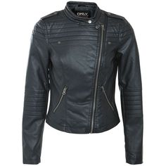 Only Black Collarless Leather-Look Biker Jacket found on Polyvore