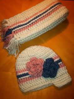 Adult Newsboy Hat w/ flowers and matching scarf