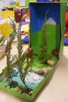 habitat diorama, science diorama, habitat project, diorama mountain