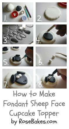How to Make Fondant Sheep Face Cupcake Toppers  {Farm Animal Cupcake Toppers Series, Part 3}