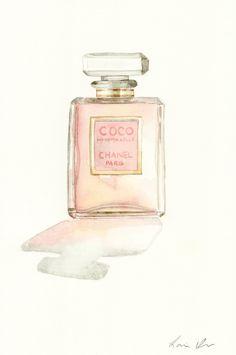 Coco Mademoiselle Chanel Digital Print of Watercolor Painting Eau de Parfum Paris Perfume Bottle