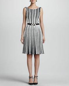 OSCAR DE LA RENTA Embroidered Zigzag Dress & Geometric-Buckle Silk Faille Belt....love