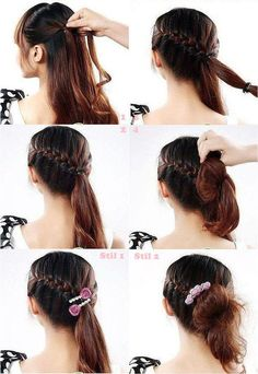 French braids updo hair style tutorial