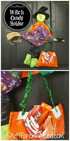 Super simple Dollar Tree craft! Witch wreath alternative/candy holder! More fun Dollar Tree Halloween crafts in the post. #HersheysHalloween