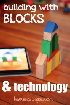Building with blocks and technology - using the iPad as a guide to build block towers.