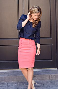 coral and navy outfits, color combos, business skirts, coral skirt outfit, color combinations, navy and coral outfit, pencil skirts, work outfits, business casual