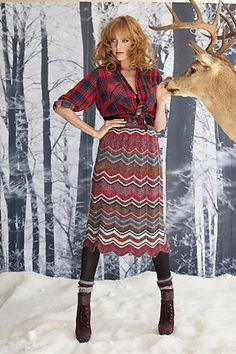 #32 Zigzag Skirt by Sasha Kagan  Published in Vogue Knitting, Winter 2011/12 vogue, vogu knit, skirt patterns, sasha kagan, skirts, fashion knit, crochet, deer heads, finger