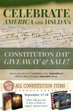 September 17th is Constitution Day! So In honor of our nation's founding document, HSLDA is offering discounts in our store and a giveaway of products on the blog that explore the history and importance of the Constitution.