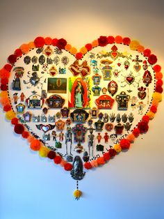 Wall Altar #diadelosmuertos #dayofthedead wall art, altar, mexican sacred art, mexican folk art, art displays, mural, mexican shrine, art walls, deadmexican folk