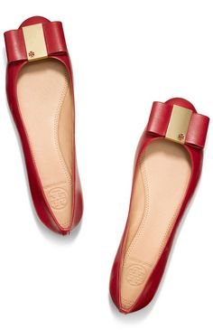 Ruby red bow flats by Tory Burch