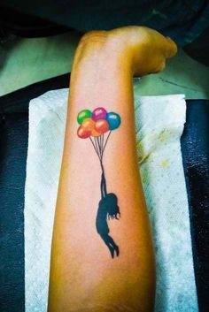 balloon tattoo-a tribute to Chloe. in all black though