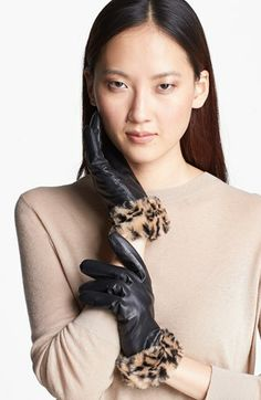 Surell Leather Gloves with Faux Fur Cuffs available at #Nordstrom