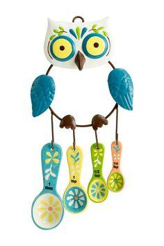 Floral Owl Measuring Spoons & Holder