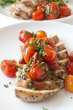 chicken with garlic balsamic tomatoes....