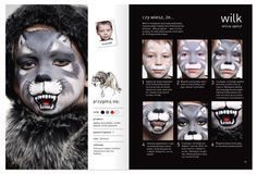 "Grey is the best. Page from the book about facepainting ""Malujemy Świat"". Follow the wolf www.szkolamakijazu.com"