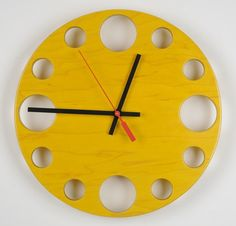 "Yellow POP Clock: 10"" Modern Wall Clock"