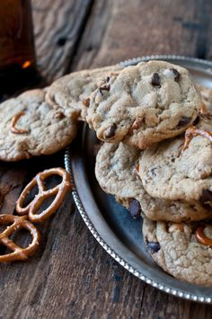 Pub Cookies made with beer, pretzels, chocolate chips and peanuts