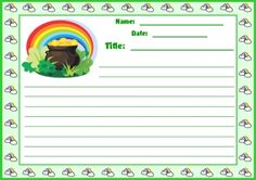 """The title for this creative writing assignment is """"Finding a Pot of Gold."""" This St. Patrick's Day worksheet set comes with a matching 5 page bulletin board display banner."""