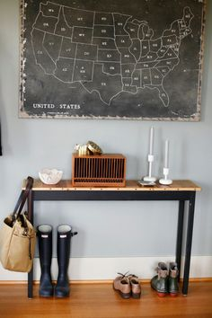 Simple entryway with cool chalkboard.