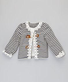 Love this Dark Navy Stripe Button Jacket - Infant, Toddler & Girls on #zulily! #zulilyfinds
