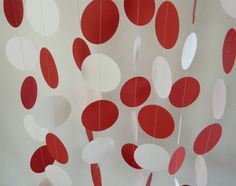 Red and White Paper Garland, Graduation Decorations, Birthday Party. $10.00, via Etsy.
