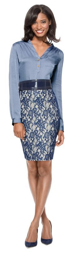 Ladies First - Create this look with our Glossy Henley Blouse, Lace Overlay Pencil Skirt and Patent Waist Belt from THELIMITED.com #TheLimited #WearToWork #W2W #Blue #Lace #Sophisticated #Professional #LTDStyle