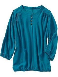 Women's 3/4-Sleeve Button-Loop Tops | Old Navy
