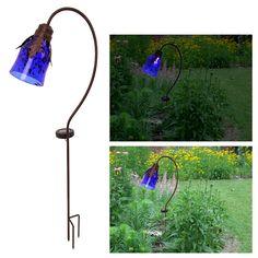 Blue Art Glass Solar Lamp